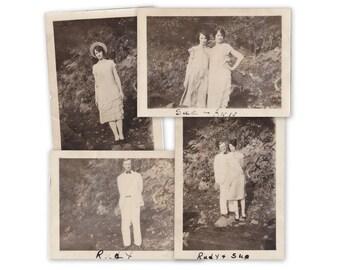 Rudy, Sue & Ann- 1920s Antique Photographs- SET of 4- Roaring 20s- Best Friends- Flapper Girls- Found Photos- Snapshots- Paper Ephemera