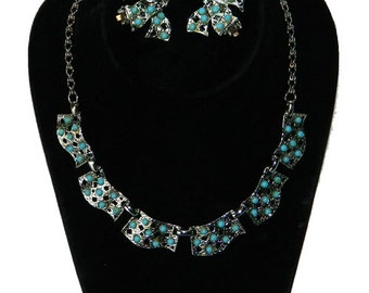 Vintage 1950s Silver Necklace and Earring Set with Faux Turquoise Cabochons