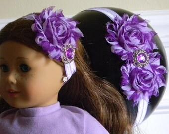 "Doll & Me Headband Purple Stripe Flower Purple Band w/ Rhinestone Center Girl and 18"" Doll Accessory Christmas Birthday Gift Girl Dress up"