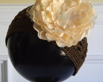 """Brown Crocheted Beanie Hat for 3-5Yr w/ 5"""" Ivory Lace Flower & Rhinestone Center on Alligator Clip Photo Prop Portraits Birthday Fall Hat"""
