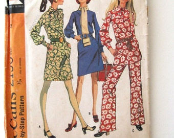 1960s Dress Top and Pants Pattern McCall's 2156 Womens Mod Separates Sewing Pattern Tunic Roll Collar Tie Collar Size 12 Bust 34 UNCUT