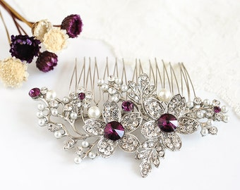Bridal Hair Comb, PURPLE Wedding Hair Comb, Swarovski Crystal Hair Comb, Flower Leaf Hair Comb, Wedding Hair Accessories, Hair Pin, SHERI