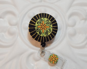 Retractable Badge Holder Id Reel  Fabric Covered Button Black Gold Green