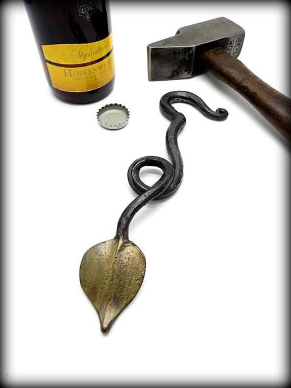BOTTLE OPENER Forged Leaf - Original - Unique - Hand Forged & Signed by Blacksmith Naz - Beer opener - Bottle openers - Gift for men
