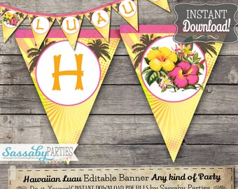 Hawaiian Luau Party Banner - INSTANT DOWNLOAD - Editable & Printable Tropical, Beach, Birthday Bunting Decorations, Decor by Sassaby Parties