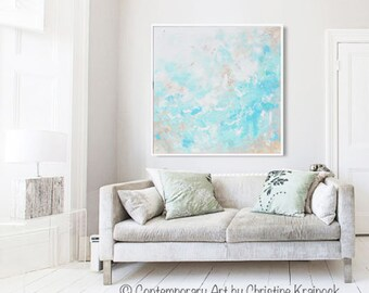 ORIGINAL Large Art Abstract Painting Light Blue Wall Art Home Decor Coastal Wall Decor Aqua Textured Palette Knife READY to SHIP- Christine