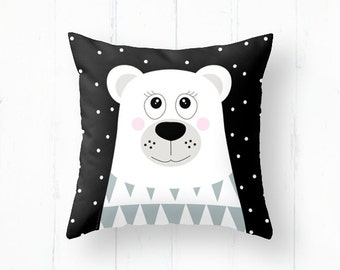 Decorative pillow cover with polar bear, kids throw pillow, nursery throw pillow, decorative pillows, children bedding, nursery decor
