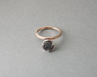 Mixed Metals with Black or White Druzy Moment Ring   Sequence Collection