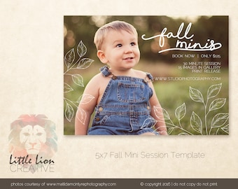 Fall Mini Session Template - PSD digital file, flyer, marketing storyboard