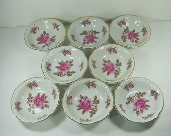 Vintage PINK ROSE BOWL Set/8 Berry Fruit Sauce Bowls Roses Forest Corsage Circa 1920s