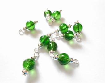 Green Transparent Druk Dangle Beads