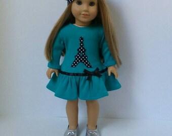 18 Inch Doll-American Girl drop waist ruffle dress: Eiffel Tower Paris dress with beret for Grace