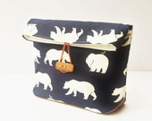Canvas Bag, Organic Fold Over Cosmetic Bag, Button Pouch, Waxed Canvas Base, Navy Bear Print