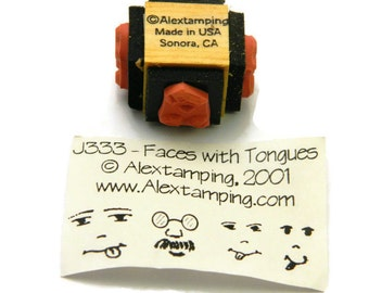Emoji Stamp Set - Emoticon Stamps - Faces With Tongues - Face Rubber Stamp - Alextamping Stamps - Unique Stamps - Mini Stamp Set