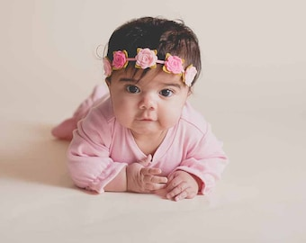 Felt Rose Headband,Felt Flower Headband,Felt Garland,Pink and Shocking Pink,Halo Headband,Newborn Baby Toddler Girl,Flower Girl Headband