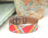 Painted Leather bracelet Upcycled