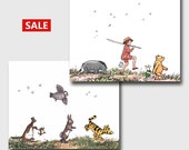 Winnie the Pooh Decor (Nursery Wall Art, Baby Boy Gift, Girls Room Prints) 8x10 or 11x14 Artwork --- Set of 2 SALE