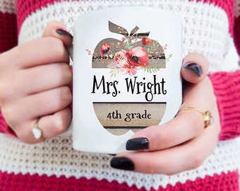 Teachers Gift, Rustic gifts, Teacher Birthday gifts, Custom Teacher Mug, Custom Mugs, Apple Coffee Mug, Teacher Thank You Appreciation