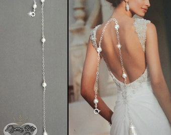 Back drop add on, Pearl backdrop, Backdrop necklace, Brides backdrop, Wedding jewelry, Wedding back drop, For a bride ~ ANNIE