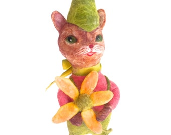 Springtime spun cotton party cat a OOAK vintage craft by jejeMae