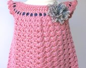 Crochet Baby Dress Pinafore, Handmade with Turkish bamboo blend Yarn in Rose Bisque Pink with Removable Flower Hair Barrette