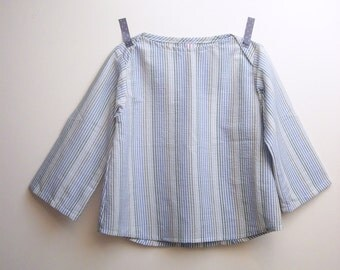 Girl blouse with long sleeves in light striped cotton, size 4 years