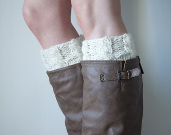 Cable Knit Boot Cuffs / Leg Warmer Boot Cuffs / Crema Natural Chunky Fall Boot Accessories