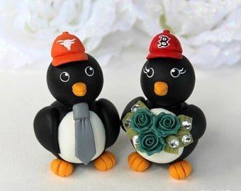 Baseball wedding cake topper, sport wedding, penguin custom cake topper, bride and groom figurines with banner