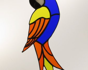 Stained Glass Parrot Suncatcher - Price Includes Shipping