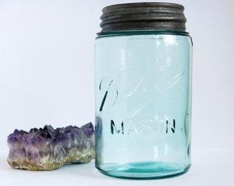 Antique Blue Teal Ball Mason Jar, Aqua Triple L Ball Canning Jar Blue Glass Pint Fruit Jar