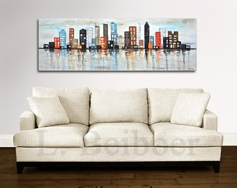 Large abstract painting cityscape original art 5ft colorful modern abstract urban oil painting 20 x 60 panoramic by L.Beiboer