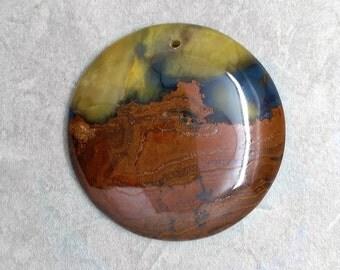 Blue Golden Tiger Eye Jasper Round Pendant - Polished Stone Pendant