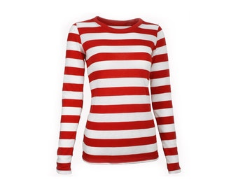 Women's Long Sleeve Red & White Striped Shirt