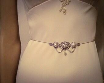Bridal Belt Wedding Silver Sash Leafs Bridal Rhinestone Flower Sash Swarovski Crystals Belt Vintage Style Bridal Sash Wedding Dress Belt