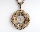 White Necklace - White Art Nouveau Necklace - Antiqued Brass Nickel Free - Art Nouveau Jewelry - Flower Necklace - Garden Necklace (Ainsley)