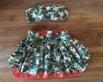 Cacti Commandeering Mini Skirt - Cactus Print - Puff Oversize Pockets - Orange Lining - Elastic Waist - Medium - FINAL SUPER SALE!!!