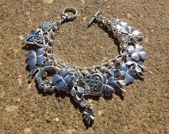 IRISH SILVER Delicate Silver Irish Celtic Ireland Charm Bracelet