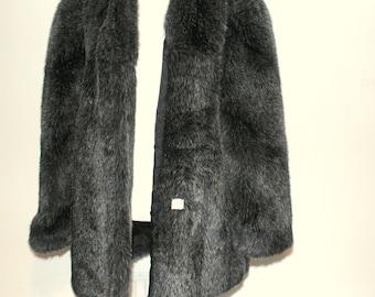 Vintage 1960's Women's Gray Black Faux Fur Coat Size XLarge
