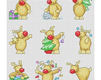 Rudolph Christmas Cards / PDF Cross Stitch Pattern