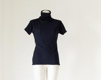 Dark Navy Turtleneck/Cotton Top/ Women's Work Top/ Women's Office Wear