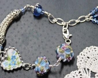 Bracelet, Broken China Jewelry, Broken China Bracelet, Viking Knit, Lampwork Beads, Blue Floral, Sterling Silver