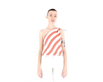 80s Striped Minimal Avant Garde Simple One Shoulder Tie Up Cotton Top