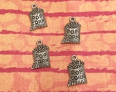 Popcorn Charm - 4 pieces-(Antique Pewter Silver Finish)