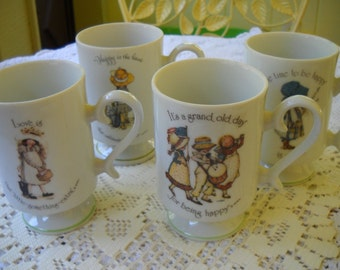 Vintage Holly Hobbie Mugs, 4 Holly Hobby Cups, 1970's Mug Set, Tea Party Cups, Little Girl Mugs,  Porcelain Cups, Mugs made in Japan