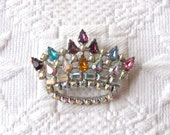 SALE Crown Brooch with Colored Jewels,  Brooch by David, Tiara Brooch