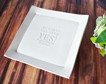 Engagement Gift or Bridal Shower Guestbook Platter  - Gift boxed