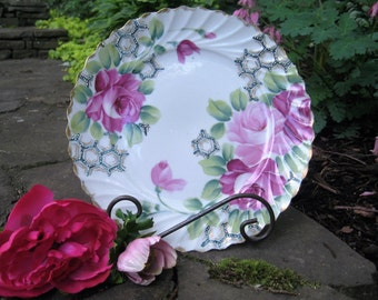 Hand Painted Nippon Pink Roses Plate -Victorian Hand Painted Pink Roses Plate - Shabby Chic Pink Roses with Gold Scalloped Edges Plate -