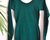 70s 80s Onepiece Bodysuit, Emerald Green Vintage Playsuit, Leotard, Stretchy, Workout, Minimal