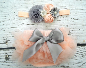 Newborn PEACH Ruffle Bloomers and Headband Set / Chiffon Ruffle Baby Bloomer / Ruffle Diaper Cover / Newborn Photo Prop / Newborn Headband