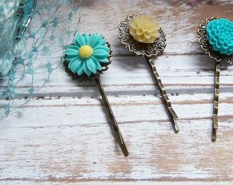 Floral Cabochon Bobby Pin Set, 3, Bobby Pins, Decorative Hair Accessories, Hair Clips,Blue Hair Accents, Romantic Hair Clips, Hair Accent
